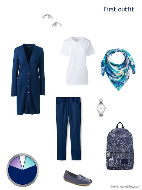 travel outfit in navy and white with lavender and teal accessories