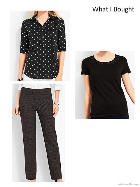 three garments in black and white from Talbots