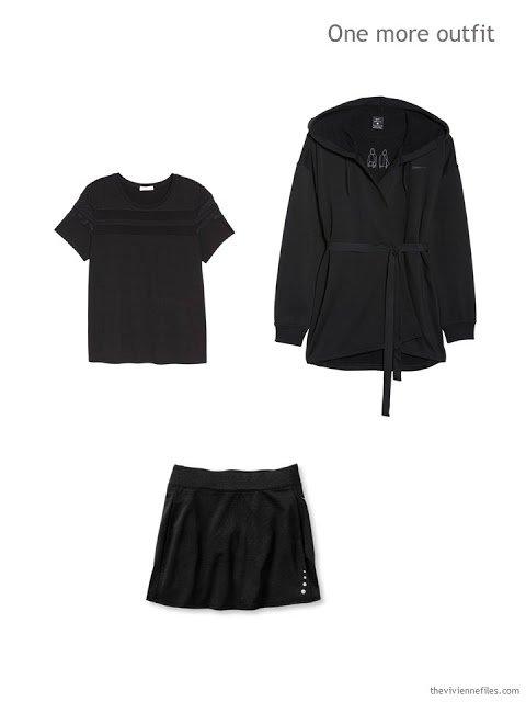 sports outfit of black tee, skort and wrap hoodie jacket