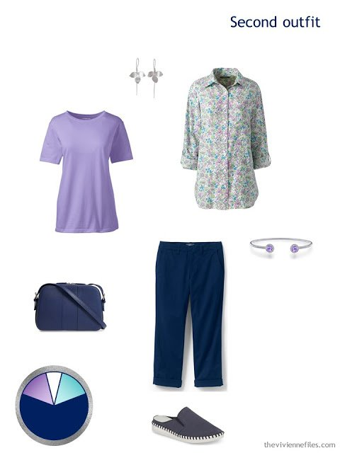 sightseeing outfit in lavender and navy