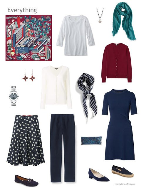 capsule wardrobe in navy with white and burgundy