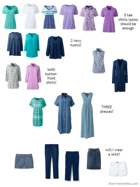 a spring and summer travel capsule wardrobe sorted by type of garment