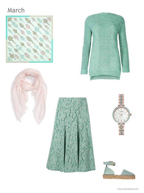 green sweater and green brocade skirt