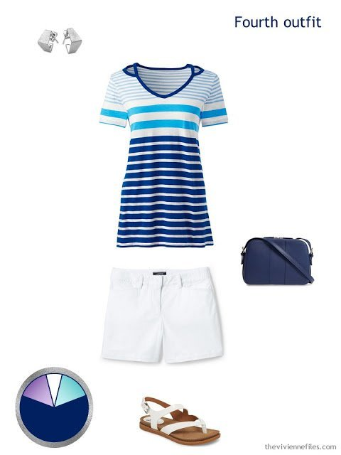 summer outfit of white shorts and striped top, with accessories