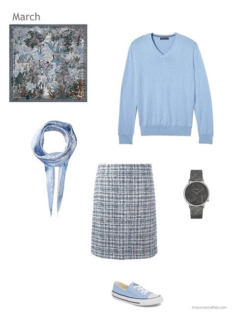 light blue sweater with tweed skirt