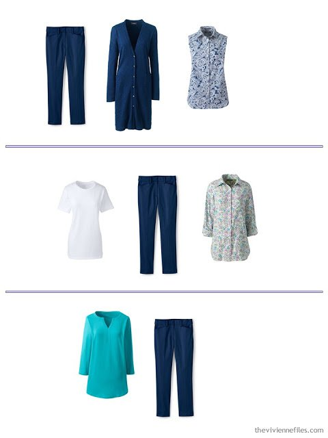 3 ways to wear navy pants from a spring and summer travel capsule wardrobe