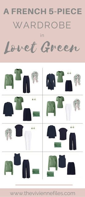 Lovet Green! A Great French 5-Piece Wardrobe, with navy and white