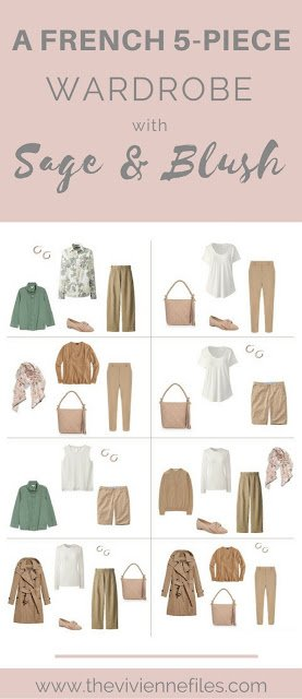 Sage and Blush! A French 5-Piece Wardrobe, with Camel