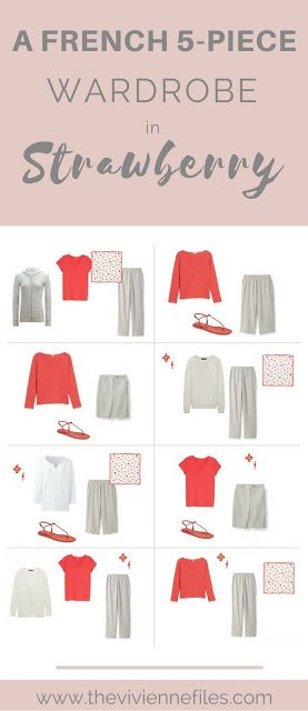 Strawberry Red! A French 5-Piece Wardrobe with stone and white...