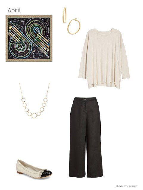 Spring outfit in beige and black, with accessories