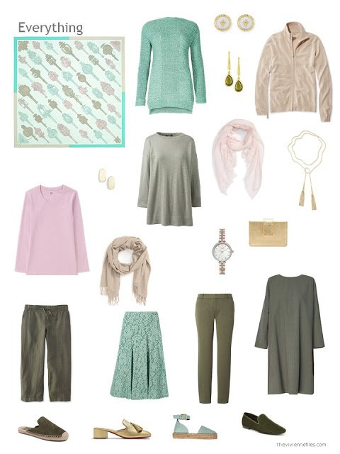 a capsule wardrobe in shades of green with pink and beige accents