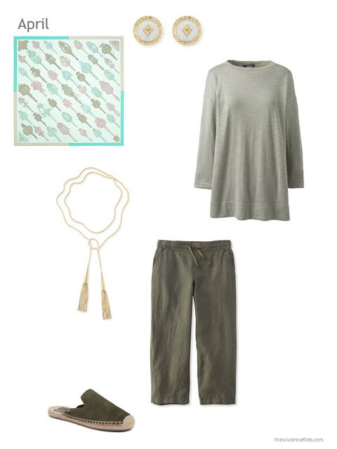 an outfit for Spring in sage green and olive green