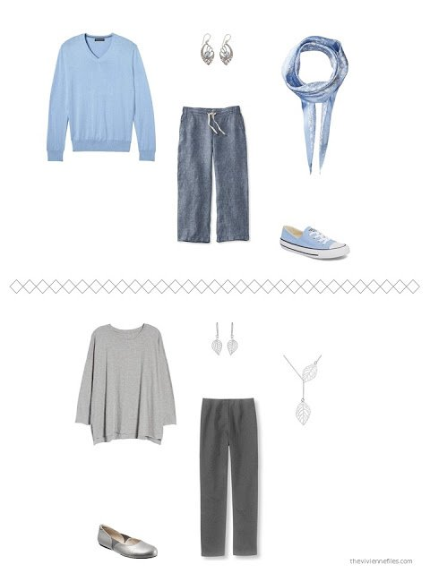 2 outfits from a capsule wardrobe in shades of grey with blue accents