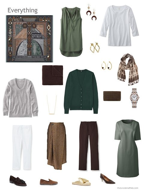 capsule wardrobe in brown and green with grey and white accents
