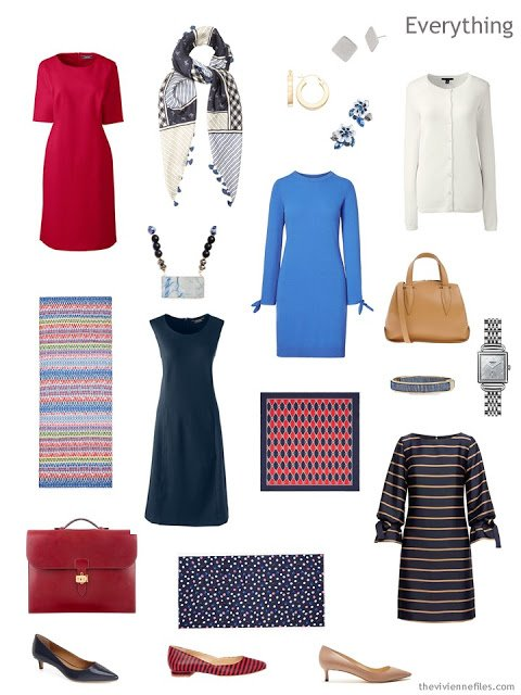 business travel capsule wardrobe in navy with red, blue and ivory