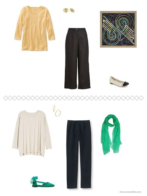 2 spring outfis based on black linen pants and an ivory tunic