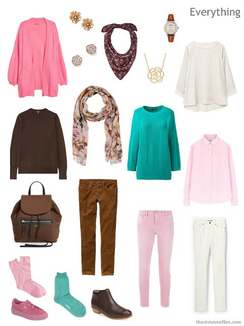 Travel Capsule Wardrobe for cold weather in brown, beige, pink and green