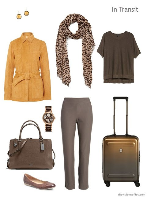 travel outfit in brown and gold