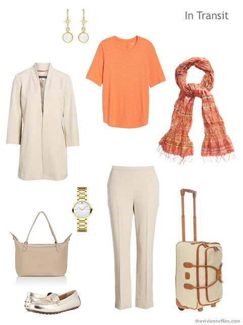 travel outfit in beige and orange