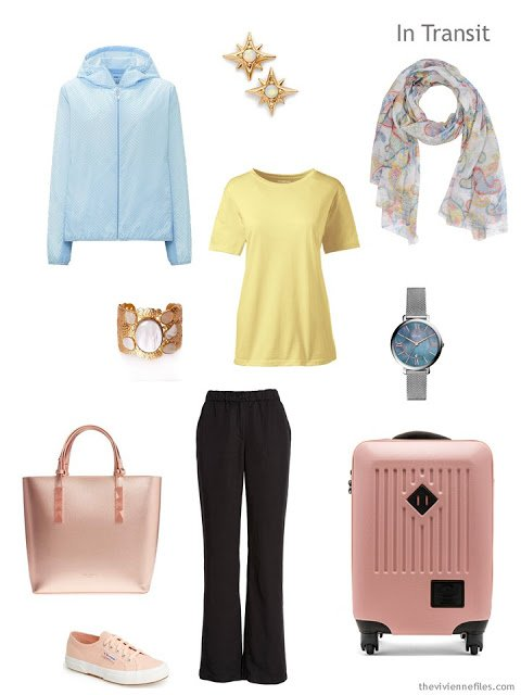 travel outfit for spring in black with mixed pastels