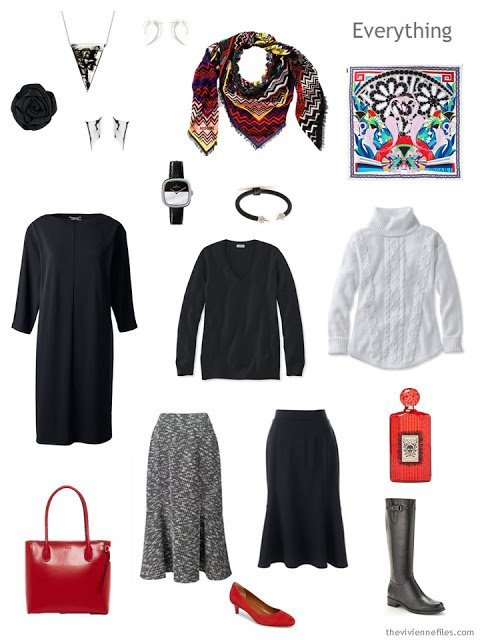 Winter Business Tote Bag Travel capsule wardrobe in black, white and red
