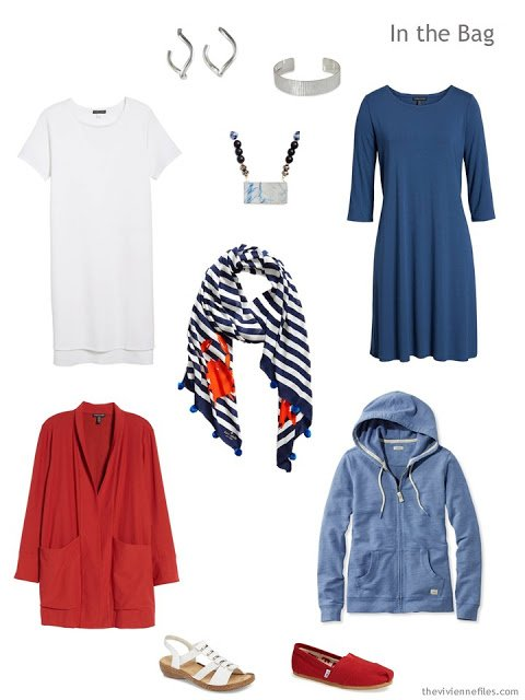 Tote Bag Travel Capsule Wardrobe in blues, red and white