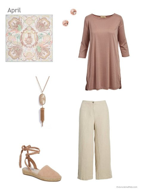 a spring outfit in beige and dusty rose