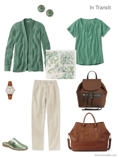 travel outfit in green and khaki