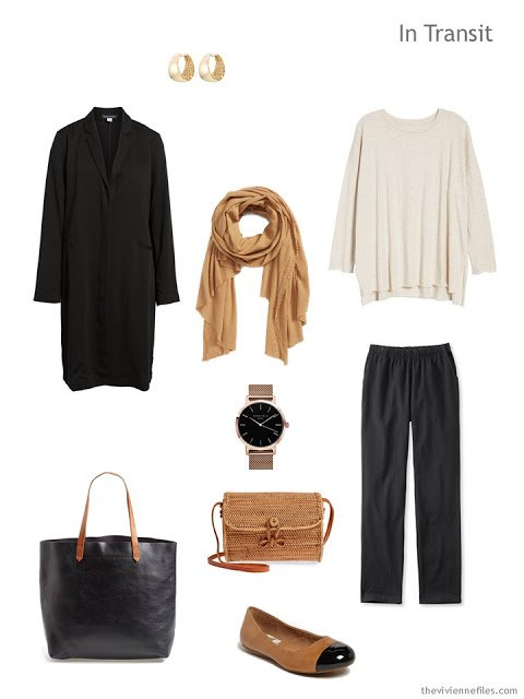 Spring travel outfit in ivory and black with camel accents