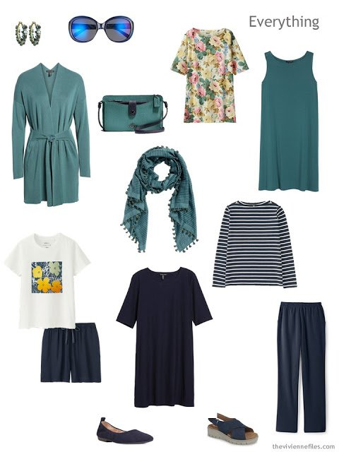 Tote Bag Travel capsule wardrobe in navy and teal with gold
