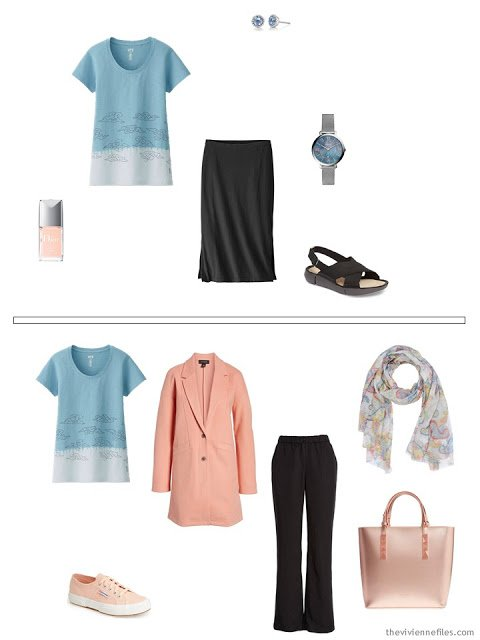 wearing a pastel blue print tee shirt with black