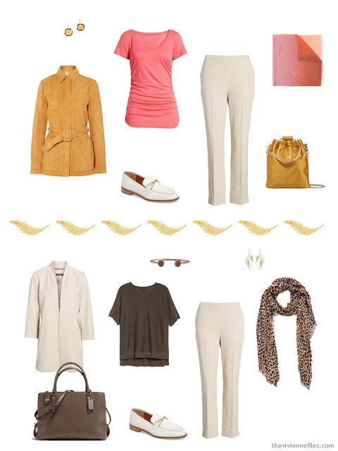 2 ways to wear ivory pants from a Tote Bag Travel capsule wardrobe