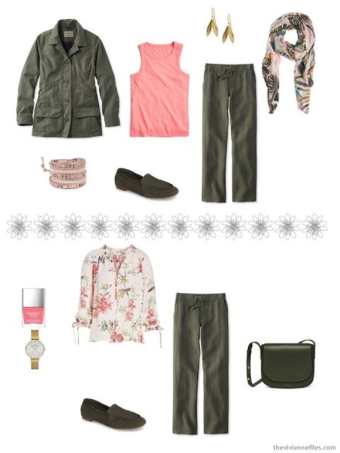 2 ways to wear olive linen pants from a travel capsule wardrobe