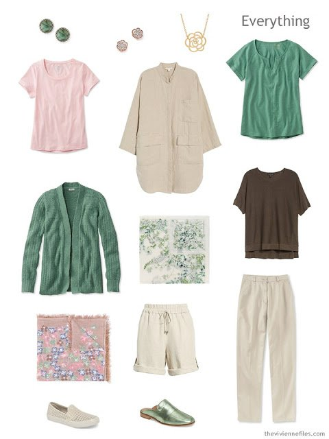 Travel capsule wardrobe in beige, green, brown and pink