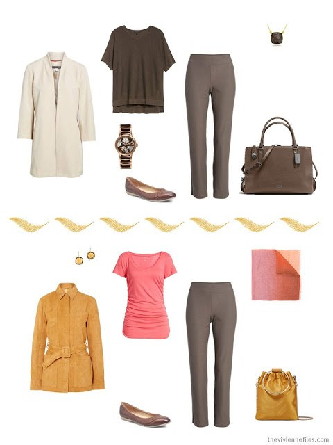 2 ways to wear brown pants from a Tote Bag Travel capsule wardrobe