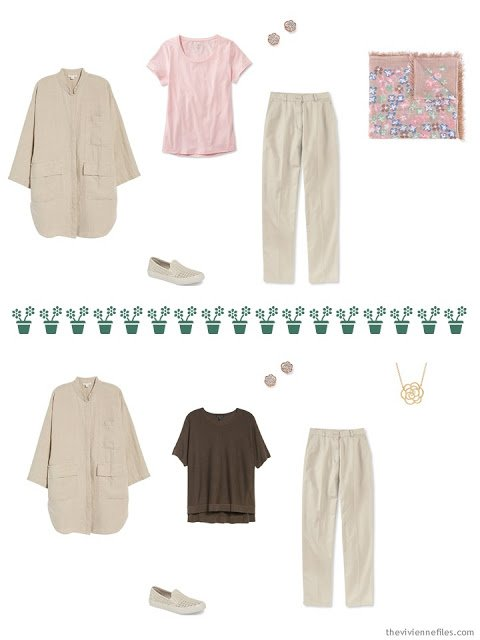 2 ways to wear khaki pants from a travel capsule wardrobe