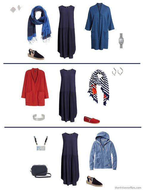 3 ways to wear a navy dress from a Tote Bag Travel capsule wardrobe