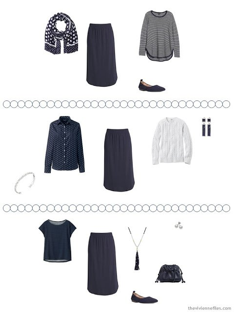 2 ways to wear a navy skirt from a Tote Bag Travel capsule wardrobe in navy and white