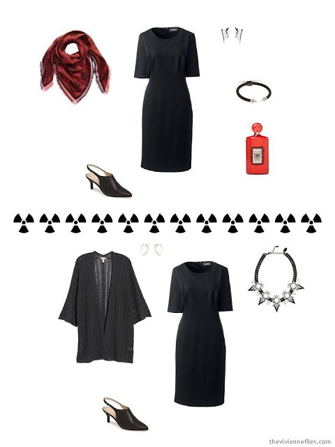 2 outfits from a Tote Bag Travel capsule wardrobe in black, grey and red