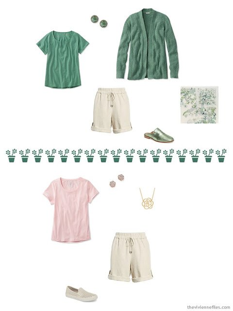 2 ways to wear khaki shorts from a travel capsule wardrobe