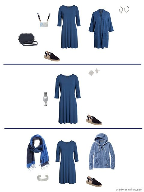 3 ways to wear a blue dress from a Tote Bag Travel capsule wardrobe
