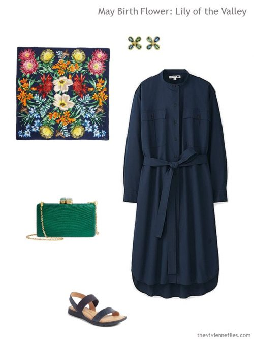 navy dress with spring floral accessories