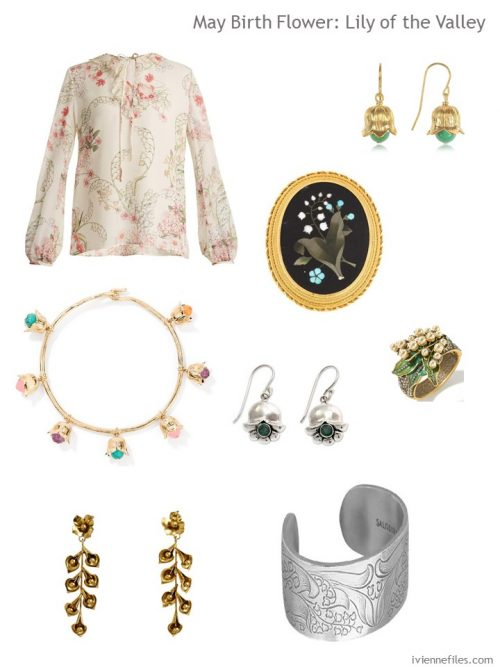 accessories with a lily of the valley motif