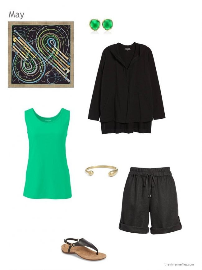 green and black summer outfit