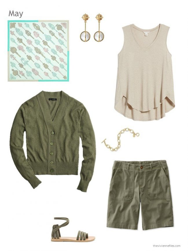 warm weather outfit in olive green and beige
