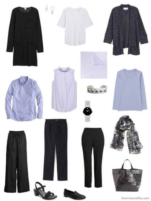 a 9-Piece Travel Capsule Wardrobe in black, white and lavender
