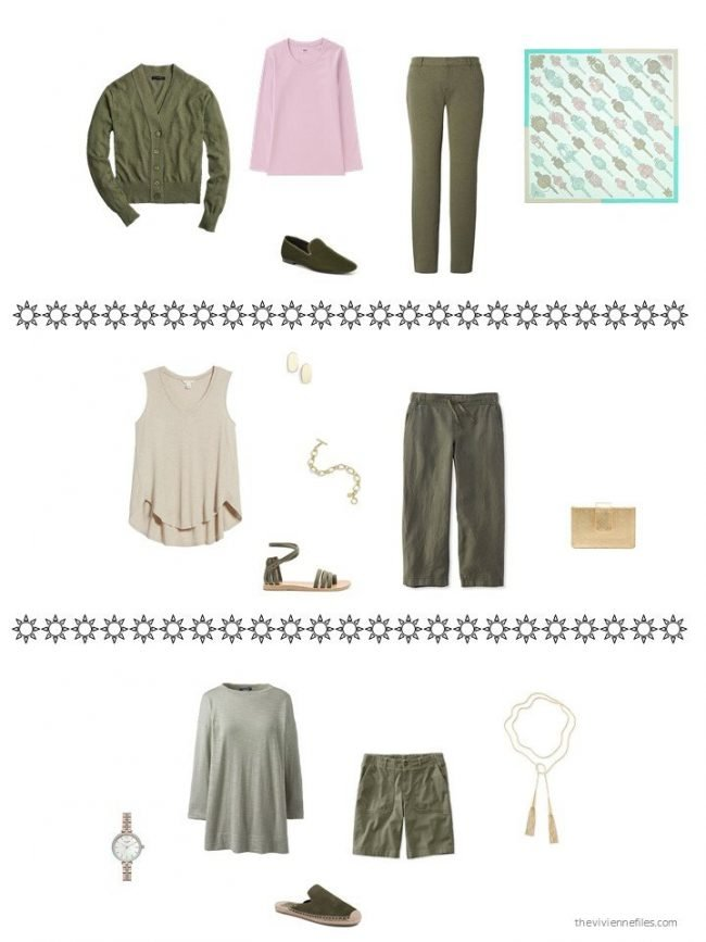 3 utfits from an olive, beige and pink capsule wardrobe