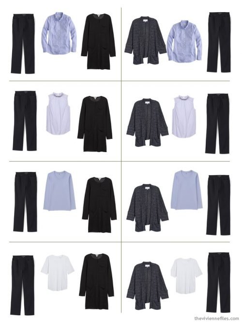 8 outfits from a 9-piece travel capsule wardrobe in black, lilac and white