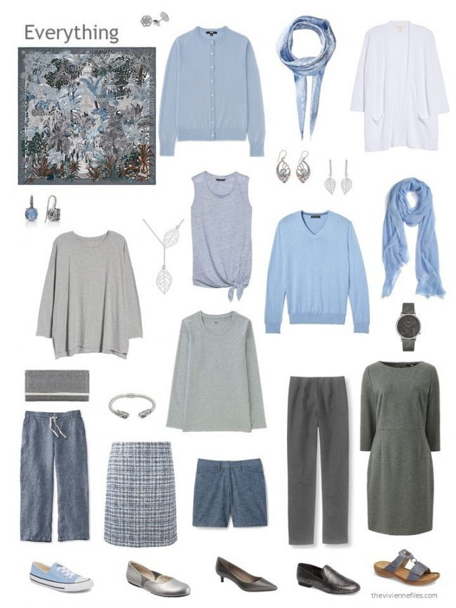 capsule wardrobe in grey and blue based on Hermes Jardin a Sintra