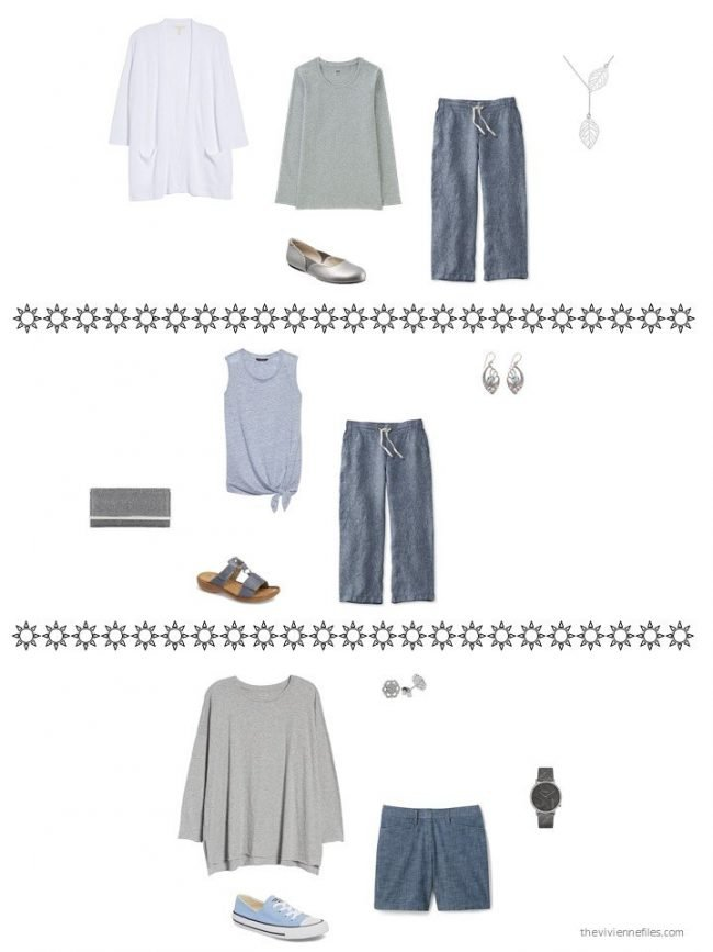3 outfits from a capsule wardrobe in blue and grey